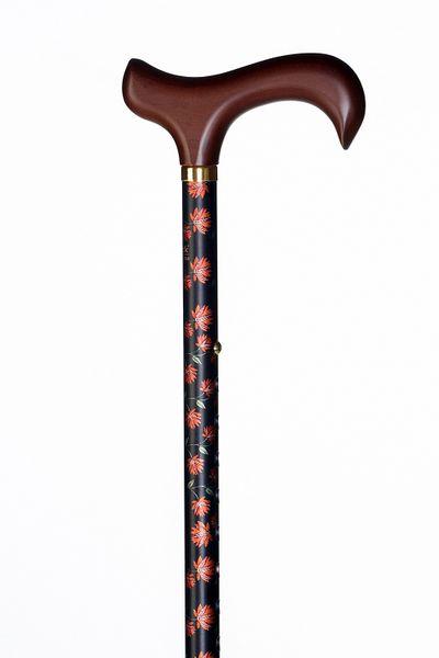 Gehstock Step-Derby FLEUR, eleganter Derbygriff aus Hartholz, aufgesetzt auf einen Stock aus stabilem Leichtmetall mit lachsfarbenem Blumendekor, höhenverstellbar, inklusiv Schlankpuffer.