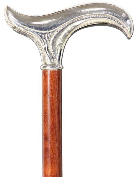 Gehstock FLORENZ, feinversilberter, ziselierter Derbygriff aufgesetzt auf einen Stock aus edlem Bubinga-Holz, inklusive passendem Schlankpuffer. – Bild 1