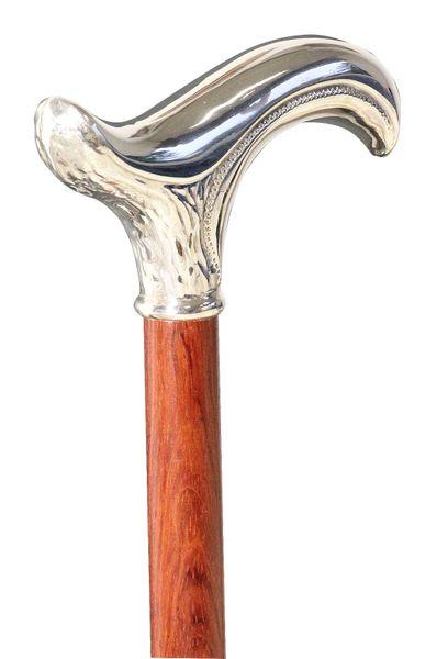 Gehstock FLORENZ, feinversilberter, ziselierter Derbygriff aufgesetzt auf einen Stock aus edlem Bubinga-Holz, inklusive passendem Schlankpuffer. – Bild 3