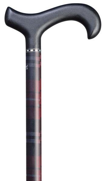 Gehstock Carbon-Derby KARO ROT, bequemer Derbygriff aus Carbon, schwarz, aufgesetzt auf einen Stock aus leichtem Carbon, rot kariert, höhenverstellbar, inklusiv Schlankpuffer. – Bild 1