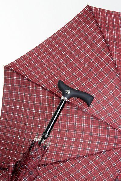 Stützschirm STEPBRELLA Gehstock höhenverstellbar, handsympathischer Fritzgriff, Automatiköffnung,Schirmgestell aus 8 stabilen Streben,edles Schirmdach aus Stoff, Karo weinrot. – Bild 1
