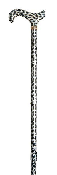 Gehstock SCHNEELEOPARD, Derbygriff aus stabilem Gießharz, aufgesetzt auf einen Stock aus stabilem Leichtmetall, höhenverstellbar, Schneeleopardenfell-Optik, inklusiv Schlankpuffer. – Bild 2