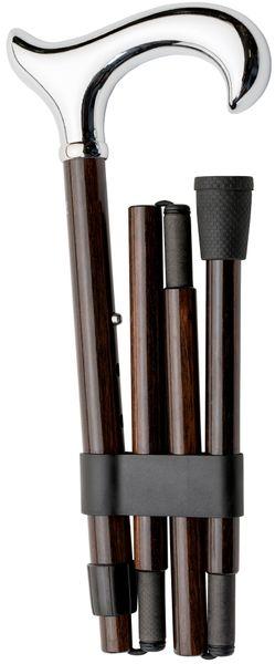 Faltstock Gehstock, CARBON- EBONY,  ergonomischer Crom- Derbygriff, Stock aus Carbon mit echtem Ebenholzfurnier, faltbar und höhenverstellbar von 85-95 cm, inklusive Gummipuffer – Bild 1