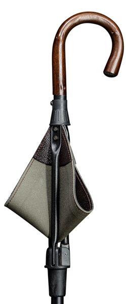 Gehstock Sitzstock LEATHERMAN mit einem Griff aus echtem Kastanienholz,Sitzfläche aus englischem Sattler- Rindsleder mit Segeltuch unterlegt, Stock aus eloxiertem Leichtmetall, höhenverstellbar. – Bild 1