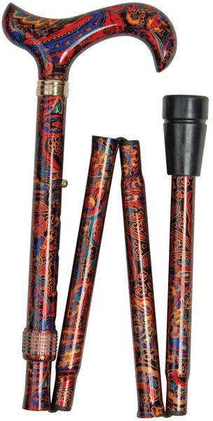 Gehstock Faltstock Fashion Derby CEYLON, eleganter Derbygriff aus stabilem Gießharz, aufgesetzt auf einen Stock aus stabilem Leichtmetall mit indisch-exotischem Design, höhenverstellbar, inklusiv Schlankpuffer.