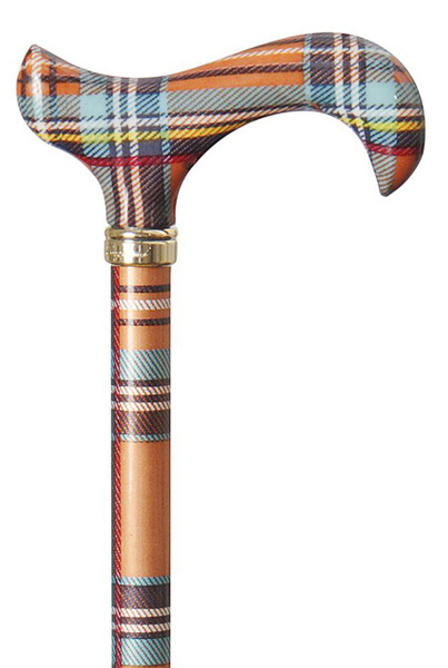 Gehstock Fashion-Derby SCOTTISH HIGHLANDS, eleganter Derbygriff aus stabilem Gießharz, aufgesetzt auf einen Stock aus stabilem Leichtmetall mit typisch schottischem Karomuster, höhenverstellbar, inklusiv Schlankpuffer. – Bild 1