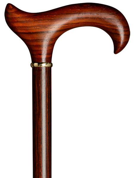 Gehstock COCOBOLO, ergonomischer Derbygriff und Stock aus edlem Cocobolo-Holz handpoliert, leicht geölt, mit Messing-Ring, inklusiv schlankem Gummipuffer, 94 cm – Bild 1