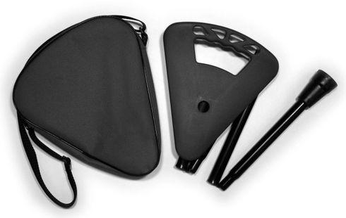 Gehstock FLIPSTICK Sitzstock, schwarz und elegant, faltbar aus stabilem Leichtmetall, Spezial-Klappsitz/Griff, inklusive Gummipuffer und praktischer Nylontasche. – Bild 1