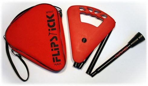 Gehstock FLIPSTICK Sitzstock, samtiges rot, faltbar aus stabilem Leichtmetall,Spezial-Klappsitz/Griff,inklusive Gummipuffer und praktischer Nylontasche.