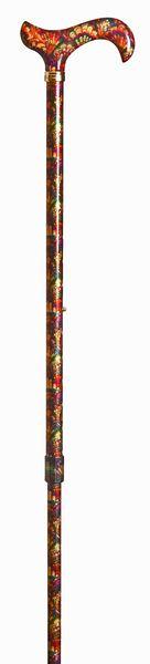 Gehstock Fashion-Derby PFAUENAUGE, eleganter Derbygriff aus Acryl, aufgesetzt auf einen Stock aus stabilem Leichtmetall mit Muster eines Pfauenhahns, höhenverstellbar, inklusiv Schlankpuffer. – Bild 2