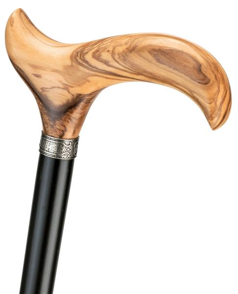 Gehstock OLIVIA, eleganter Derbygriff aus echtem, fein gemasertem Olivenholz, aufgesetzt mit Silber-Schmuckring auf einen Stock aus schwarz lackiertem Buchenholz, inklusiv Elegant-Gummipuffer. – Bild 1
