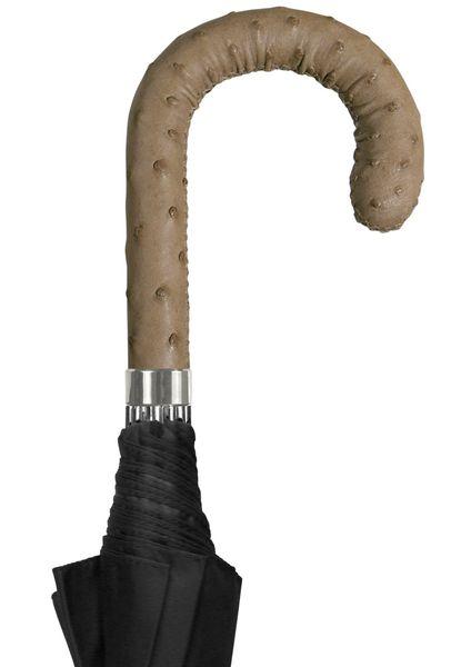 BRILLANT Luxus Schirm, Schirmdach schwarz, Griff aus  STRAUßENLEDER natur – Bild 1