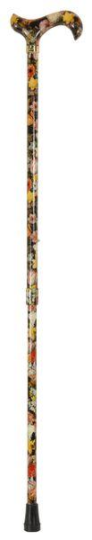 Gehstock Fashion-Derby NATIONAL GALLERY BOSSCHAERT, eleganter Derbygriff aus Acryl, aufgesetzt auf einen Stock aus stabilem Leichtmetall mit Muster eines Gemäldes von Bosschaert, höhenverstellbar, Gummipuffer. – Bild 2