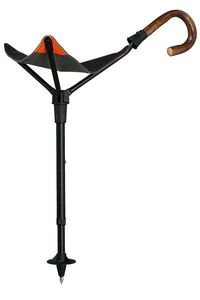 Gehstock Sitzstock PRAKTUS SAFETY EICHE mit einem Griff aus echtem Eichenholz,Sitzfläche aus englischem Sattler- Rindsleder, Stock aus eloxiertem Leichtmetall, höhenverstellbar. – Bild 1