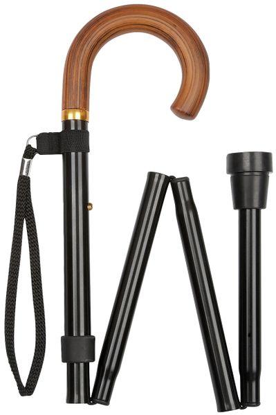 Gehstock Faltstock TORINO  Rundhakengriff aus Naturholz, aufgesetzt auf Leichtmetall schwarz, faltbar und höhenverstellbar von  84 bis 94 cm, inklusive Gummipuffer und schwarzer Kordel-Tragschlaufe.