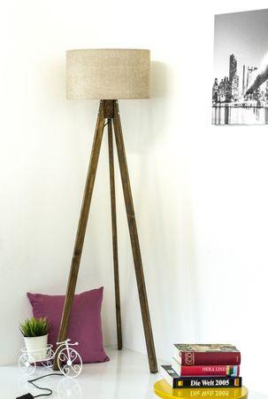 Tripod Stehlampe Stehleuchte Deckenfluter Hellbraun Textil Schrim / Braun Naturholzfüße