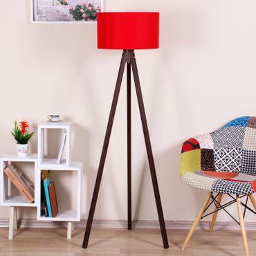 Stehlampe Standleuchte Rund Textilschirm Tripod Stehleuchte Stativlampe Rot / Braun