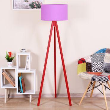 Stehlampe Standleuchte Rund Textilschirm Tripod Stehleuchte Stativlampe Lila / Rot