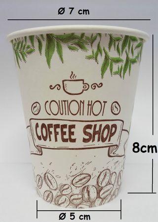 200Stück Kaffeebecher Hartpapierbecher PappeBecher Pappbecher 180ml Coffee/Shop – Bild 2