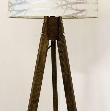 Tripod Stehlampe Stehleuchte Deckenfluter Bund Weiß Textil Schrim / Braun Naturholzfüße – Bild 2