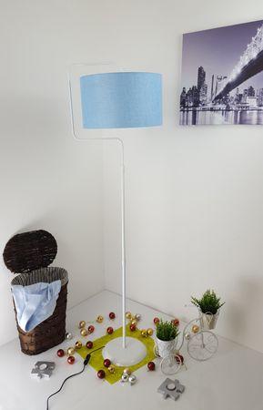 Stehlampe Standleuchte Stehleuchte Stativlampe Deckenfluter  Blau Weiß Metall Standfuß – Bild 1
