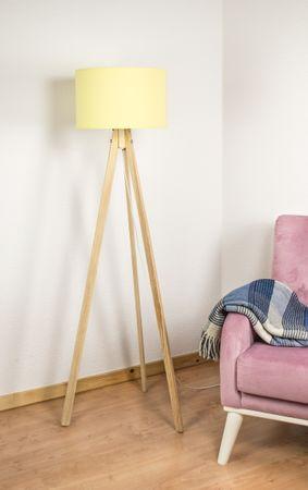 Stehlampe Standleuchte Rund Textilschirm Tripod Stehleuchte Stativlampe  – Bild 10