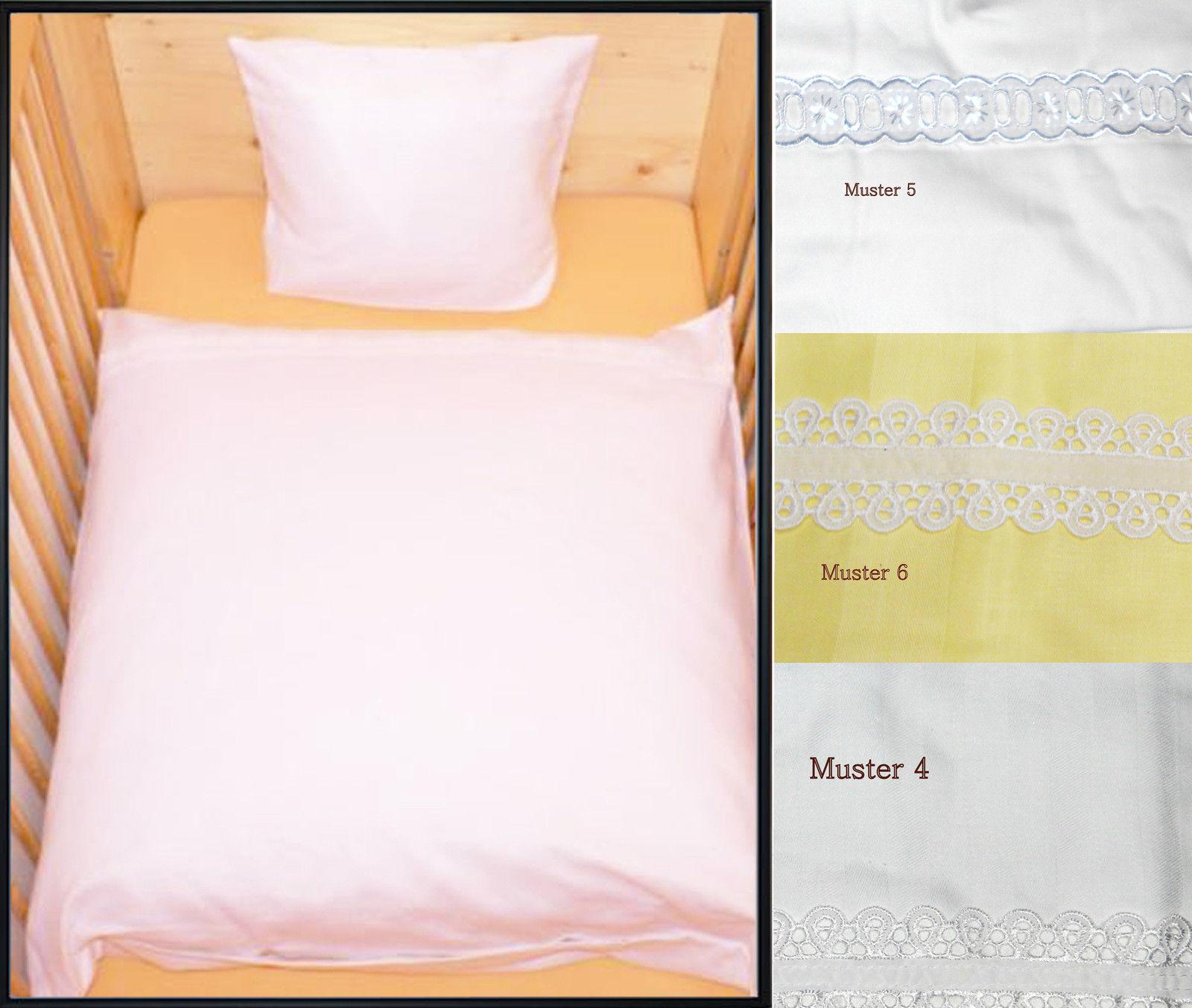 Details Zu Baby Bettwäsche Set 80x80cm Kissen Bettdecke Mit Spitze Stickerei Geburt Weiß