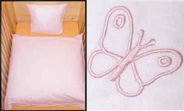 Baby Bettwäsche 80x80cm Geburt Weiß rosa Schmetterling Baumwolle Kinderwagen