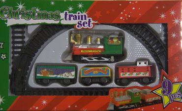 9-teilig Weihnachtszug Zug Lok Lokomotive Spielzeug Schienen Spiel Eisenbahn