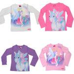 Kinder Langarm T-Shirt Disney Pferde Pony Glitzer Ylvi and the Minimoys  001