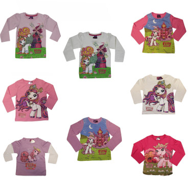 Kinder T-Shirt langarm Gr.98-128 Filly Fairy Pferdchen Witchy Elves Glitzer pink