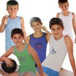 1x Kinder Bio Baumwolle Unterwäsche Set Unterhemd Öko-Tex Standard 100 001