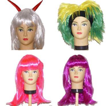 Kinder Damen Perücke Fasching Karneval Frau Kind Punk Emo Cosplay Teufel