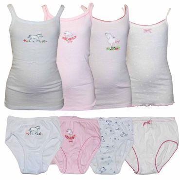 5x Kinder Unterwäsche Mädchen Unterhemd Slip Pferde Top 1B Ware