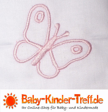 Baby Bettwäsche 80x80cm Geburt Weiß rosa Schmetterling Baumwolle Kinderwagen – Bild 2