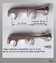 Innenlauf Edelstahl Look Gardinenstange 20mm Wandträger a. Kristall 2-lauf H60II