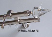 Rohr + Innenlauf Edelstahl Look Gardinenstange 20mm Wandb. Kristall 2-lfg H60 RI