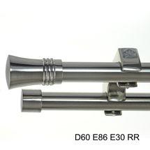 Edelstahl Look Gardinenstange 20mm Deckenträger Deckenlauf modern D60 RR