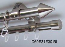 Rohr + Innenlauf Gardinenstange Edelstahl Look 20mm Deckenträger 2-lauf D60 RI