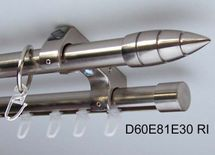 Rohr + Innenlauf Gardinenstange Edelstahl Look 20mm Decke 2-lauf Kristall D60 RI