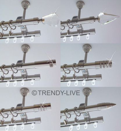 Rohr + Innenlauf Gardinenstange Edelstahl Look 20mm Decke 2lauf Kristall D61 RI