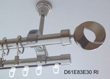Rohr + Innenlauf Gardinenstange Edelstahl Look 20mm Deckenträger modern D61 RI