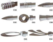 Endstück f. 20mm Gardinenstangen Edelstahl Look Kappe Kristall - Designs wählbar