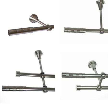 Gardinenstange Edelstahl Look 16mm Wand- Deckenträger oder Zusatzlauf Design E12