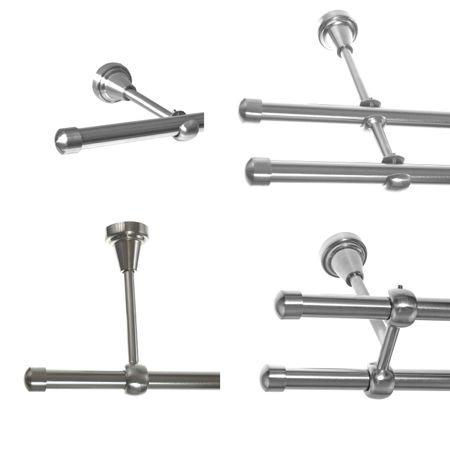 Gardinenstange Edelstahl Look 16mm Wand- Deckenträger oder Zusatzlauf Design E17