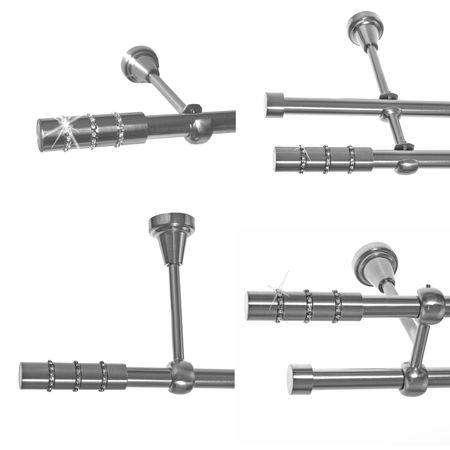 Gardinenstange Edelstahl Look 16mm Wand- Deckenträger o. Zusatzlauf Kristall E25