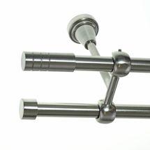 Gardinenstange Edelstahl Look 16mm Wand- Deckenträger o. Zusatzlauf Zylinder E28