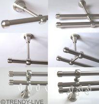 Gardinenstange Edelstahl Rohr VA 16mm Wand- Deckenträger o. Zusatz Innenlauf E17