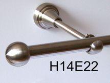 Gardinenstange Edelstahl Rohr VA 16mm Wand- Deckenträger o. Zusatz Innenlauf E22