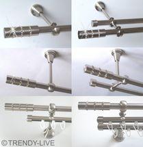 Gardinenstange Edelstahl Rohr VA 16mm Wand- Deckenträger o. Zusatz Innenlauf E25